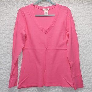 Long sleeve pink thermal top